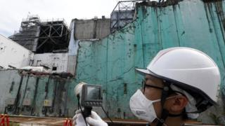The nuclear reactor damaged by the tsunami