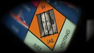 A composite image showing Shakespeare inside the Monopoly 'jail' square