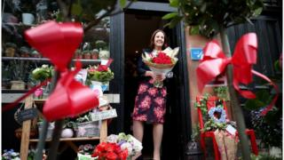 Kezia Dugdale at flower shop