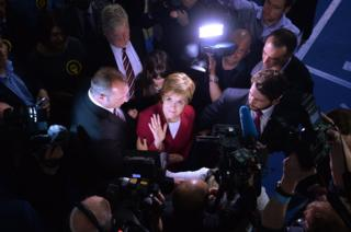 First Minister and SNP Leader Nicola Sturgeon arrives at the counting hall during the UK Parliamentary Elections at the Emirates Arena on 9 June 2017 in Glasgow, Scotland.