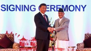 प्रधानमन्त्री केपी शर्मा ओली र राष्ट्रपति सी जिन्पिङ