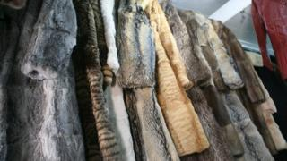 Fur coats on rail