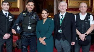 Commons Speaker Lindsay Hoyle, Home Secretary Priti Patel and the three members of Parliament's security team