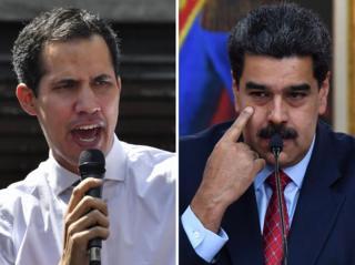 نیکولاس مادورو و خوان گوایدو (چپ)