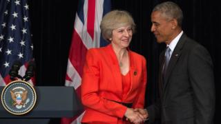 Theresa May and Barack Obama