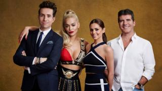 Judges Nick Grimshaw, Rita Ora, Cheryl Fernandez-Versini and Simon Cowell for the ITV1 talent show, The X Factor.