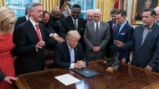 President Trump with faith leaders in the Oval Office