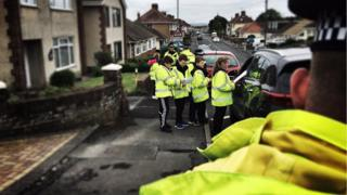 Road safety exercise in Llanelli