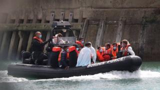 Migrants being brought to Dover
