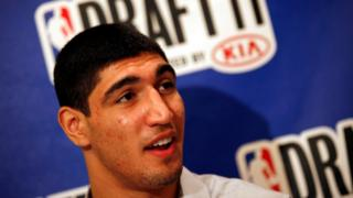 Enes Kanter of Turkey speaks to reporters at a media availability session ahead of the 2011 NBA Draft
