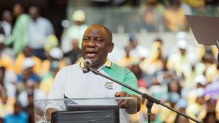 African National Congress (ANC) President Cyril Ramaphosa addresses supporters