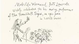 Illustration of Matilda performing a poem