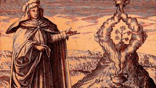 """Grabado mostrando a María Profetísima, del libro de Michael Maier """"Symbola Aurea Mensae Duodecim Nationum"""" (1617)."""
