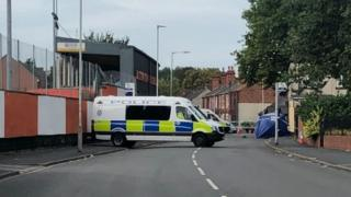 Police at the scene in Bilston