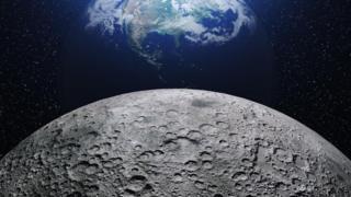 Ilustração da Lua com a Terra ao fundo