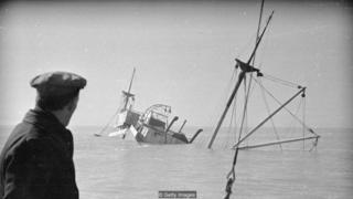 This 1948 photograph shows one of the many victims to go aground on the Goodwin Sands