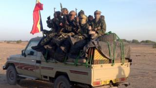 Chadian soldiers on an army pick-up - archive shot