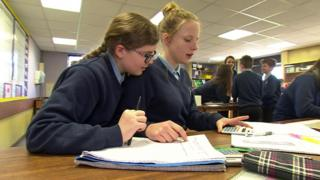 Pupils in science class