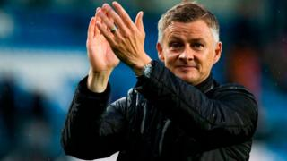 Molde FK´s headcoach Ole Gunnar Solskjaer celebrates after the UEFA Champions League third round, second leg qualifying football match between Molde FK and Hibernian at the Aker Stadium in Molde, Norway, on August 16, 2018.