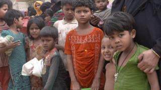 Rohingya children at a refugee camp in Bangladesh