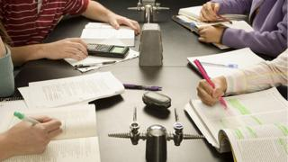 Students studying at college