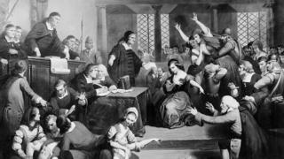 An illustration of the trial of George Jacobs, who was hanged during the Salem witch trials in 1692