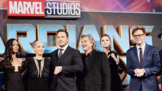 James Gunn (right) with the Guardians of the Galaxy cast