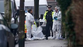Police and forensic officers at Matlock Road