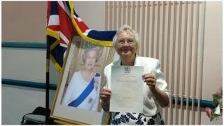 Inga Lockington with her UK citizenship certificate