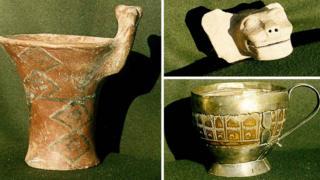 Tres piezas arqueológicas