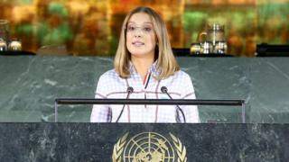 Millie Bobby Brown speaking at the United Nations in New York