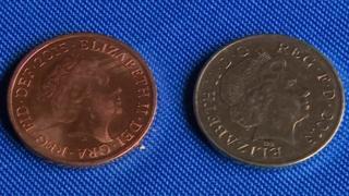 """Normal 2p coin and rare """"silver"""" 2p coin"""