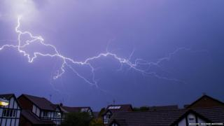 Lightning above houses