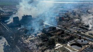 这是3月22日无人机拍摄的爆炸事故现场。