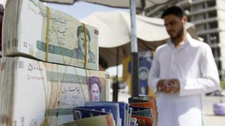 An image of Iranian rial in cash