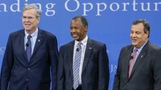 Jeb Bush, Ben Carson and Chris Christie attend the Kemp Forum on Expanding Opportunity.