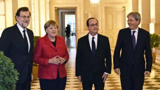 Versailles summit: (L-R) Spanish Prime Minister Mariano Rajoy, German Chancellor Angela Merkel, French President Francois Hollande and Italian Prime Minister Paolo Gentiloni