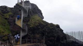 The Gobbins - a dramatic cliff face walk in Islandmagee - was damaged by storms Abigail and Frank