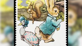Peter Rabbit and Jemima Puddleduck on a stamp.