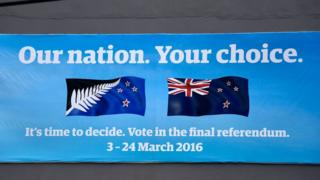 A banner advertises the March flag referendum in Wellington on 16 February 2016.