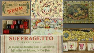 A selection of games including (clockwise from bottom left) Suffragetto, Krom, British sovereigns, Tetotums and Tar of All Weathers (centre)