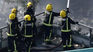 Firefighters tackling the Grenfell fire