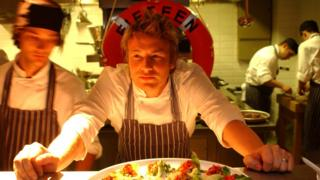 Jamie Oliver and other chefs at Fifteen