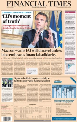 Financial Times front page, 17/4/20