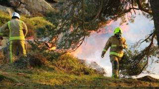 Firefighters on Ilkley Moor