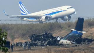 Plane crash site in Kathmandu