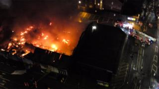 drone picture of the fire