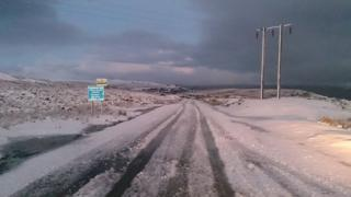 Snow covers the ground in Blaenavon, Torfaen