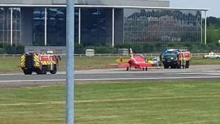 Red Arrows at Farnborough Airport
