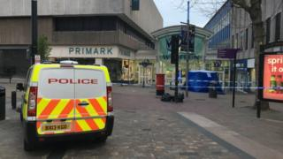 Police van and tent at the scene in Wulfrun Square